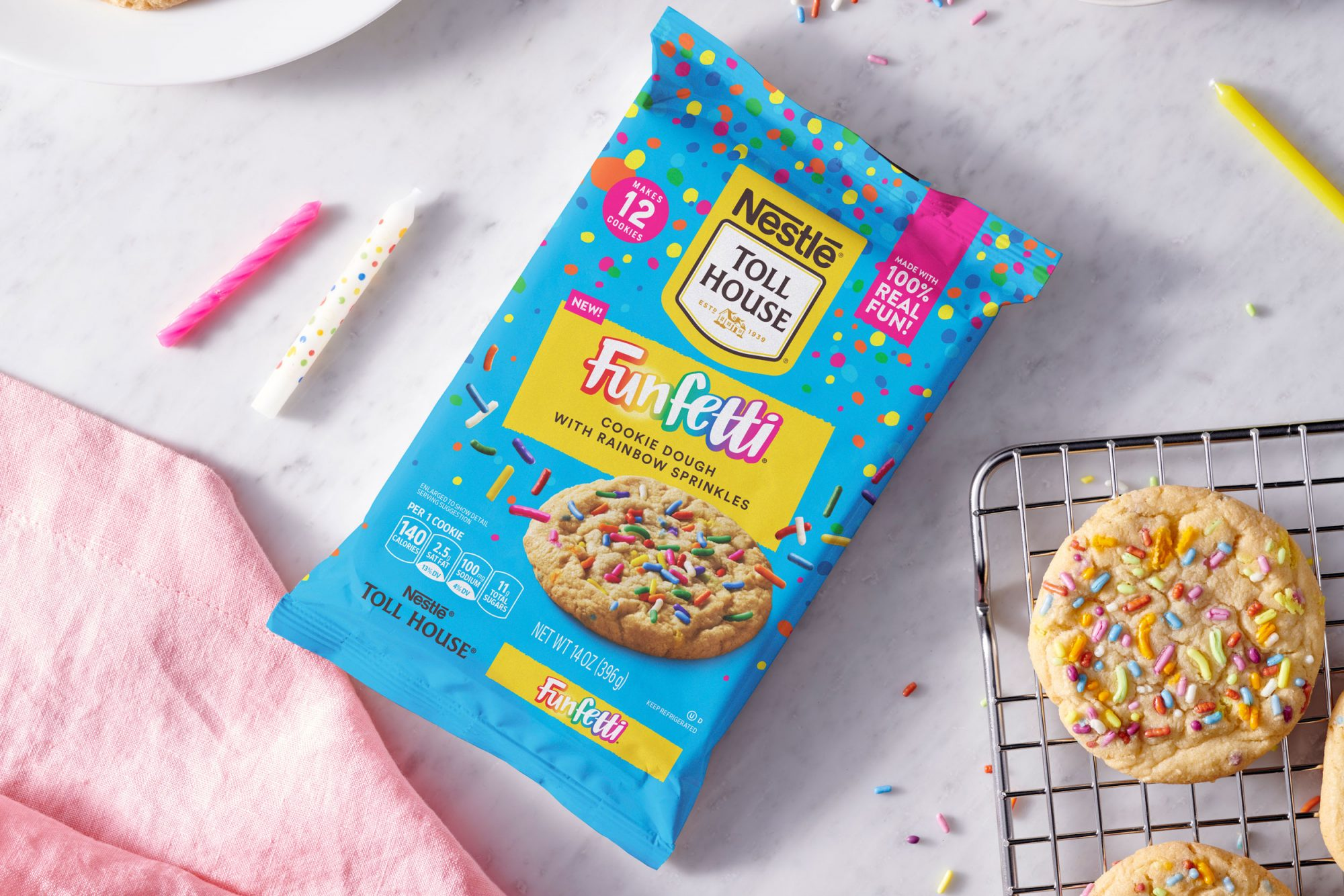 NESTL & EACUTE;  TOLL HOUSE FUNFETTI COOKIE DOUGH WITH RAINBOW SPRINKLES