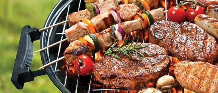 MEAT VEGETABLES BARBECUE GRILL BARBACOA